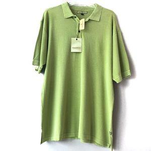 NWT Tommy Bahama Green Silk Polo Shirt XL
